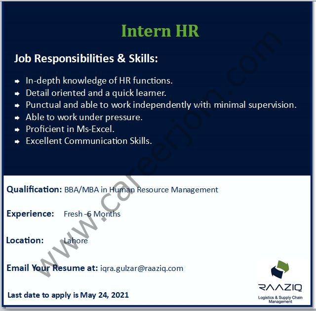 Raaziq International HR Internship 2021 Latest Advertisement - Apply via Iqra.gulzar@raaziq.com