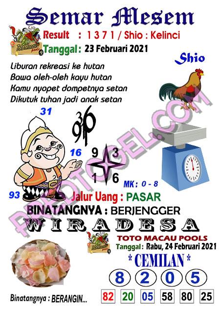 Syair Toto Macau Semar Mesem Rabu 24 Februari 2021