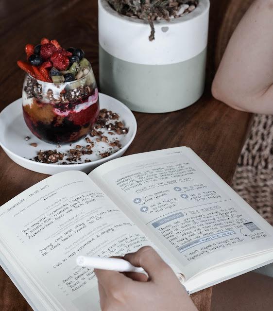 Woman starting a journal