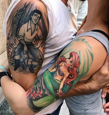 Tatuaje para parejas de La Sirenita