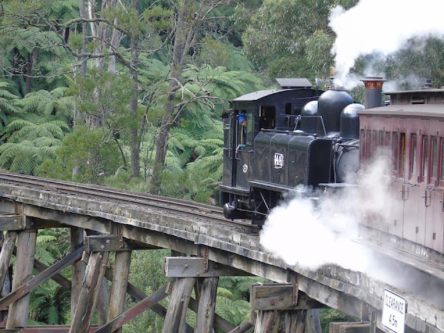 Puffing Billy Steam Railway Melbourne Australia trestle bridge Puffing Billy Railway PBR NA Class 8a Australian narrow gauge