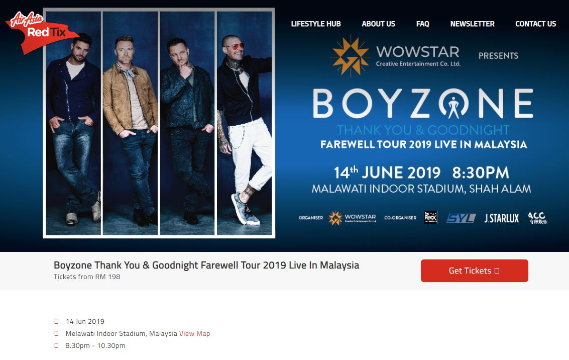 Boyzone, Thank You and Goodnight Farewell Tour, AirAsia Red Tix, Rawlins GLAM, Wowstar Creative Entertainment Co., Ltd.,