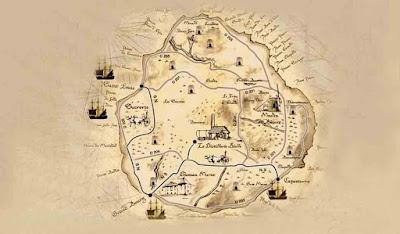Carte ancienne de Marie Galante où est précisé l'emplacement des distilleries.