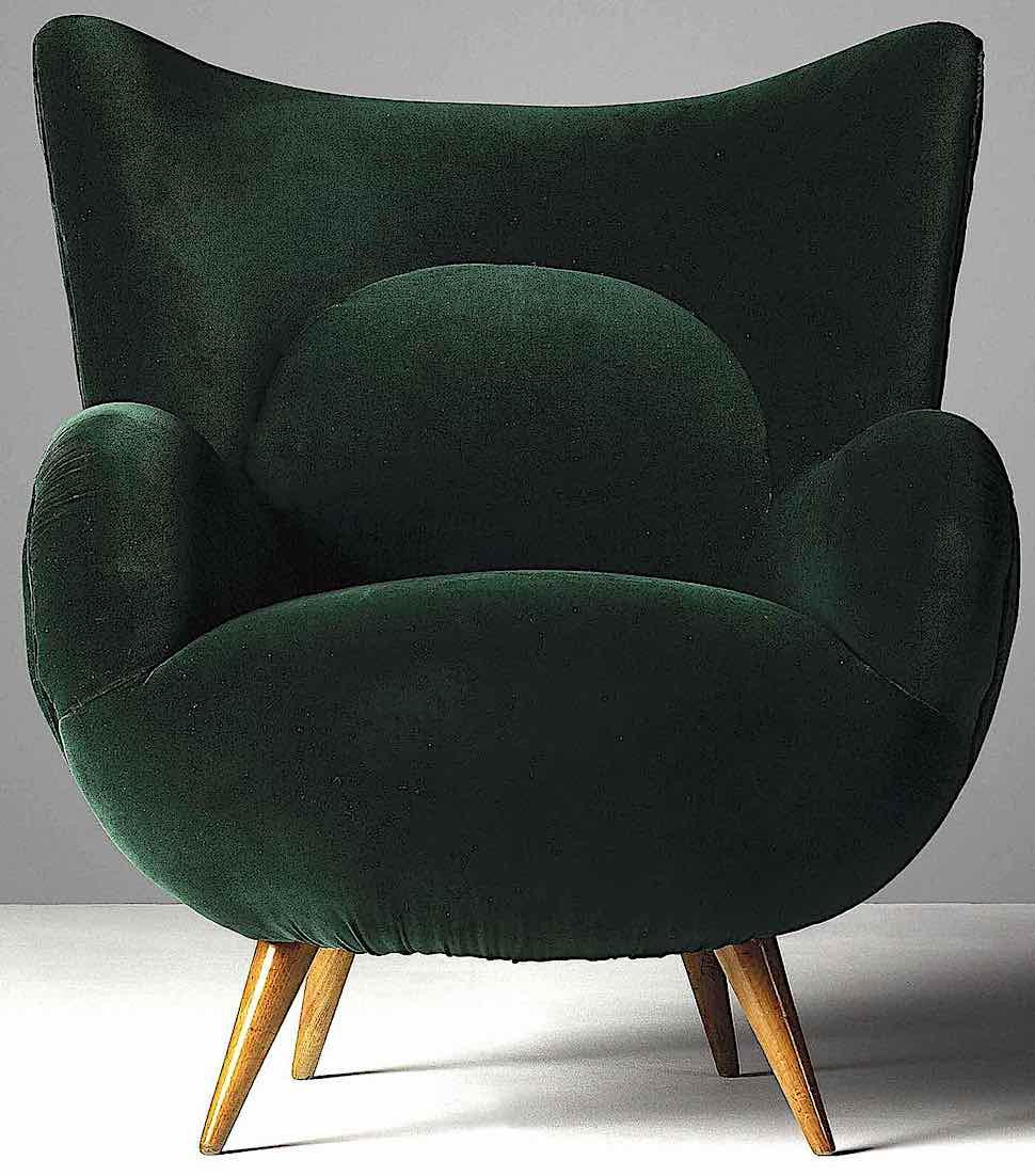a 1952 Carlo Mollino chair in green