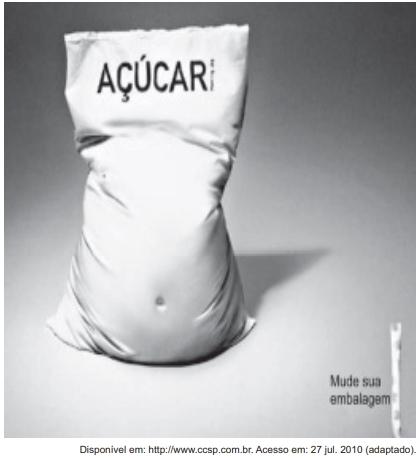 """ENEM 2011: O texto é uma propaganda de um adoçante que tem o seguinte mote: """"Mude sua embalagem""""."""