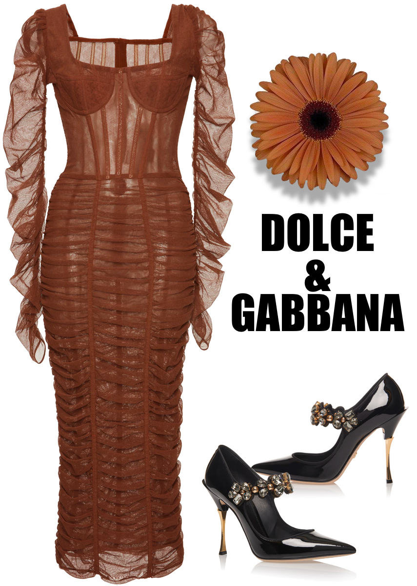Dolce & Gabbana Long Sleeve Ruched Dress and Crystal-Embellished Patent-Leather Pumps