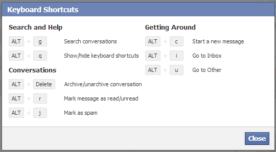Facebook messages keyboard shortcuts