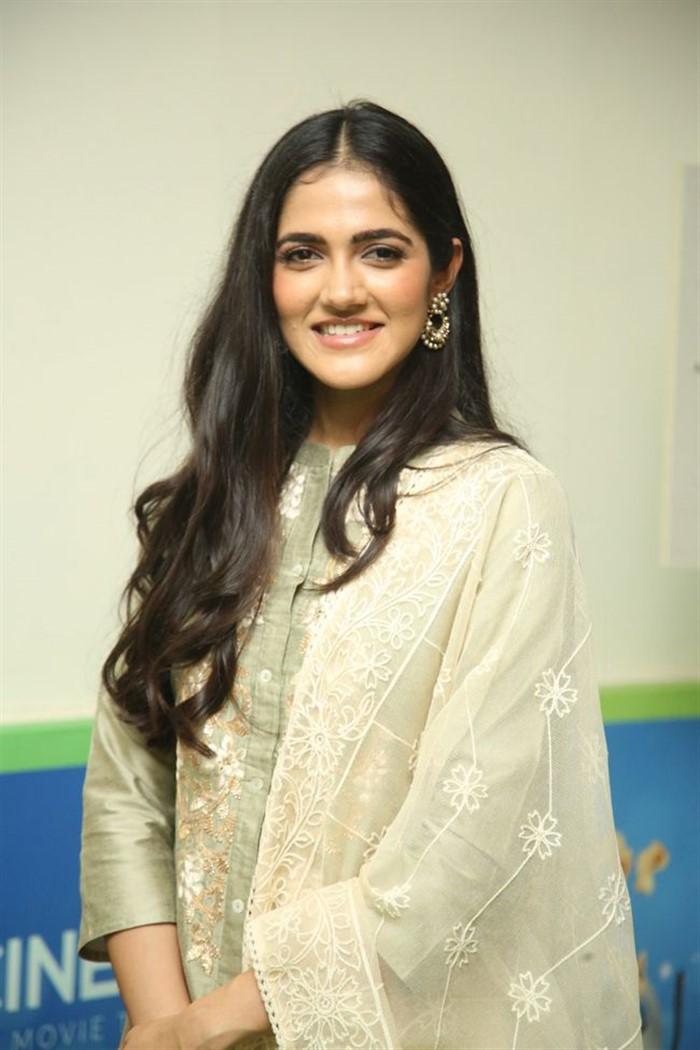 Indian Model Simran Chowdary in Sandal Color Churidar Dress at Sehari Movie Launch Function (5)
