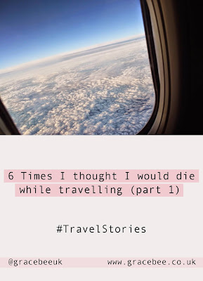 "A pinterest pin, showing a photograph of an airplane window with text that reads ""6 times I thought I would die while travelling"""