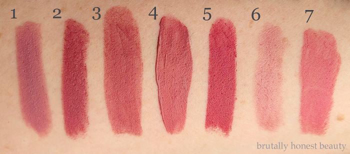 Swatches of Urban Decay Backtalk, Bite Beauty Amuse Bouche Lipstick in Rhubarb, Maybelline Creamy Matte Lipstick in Touch of Spice, NYX Slip Tease Full Color Lip Oil in Lowkey, Colourpop Lux Lipstick in Angel City, Nars Satin Lip Pencil in Rikugien, Wet N Wild Megalast Lipstick in Rose-bud