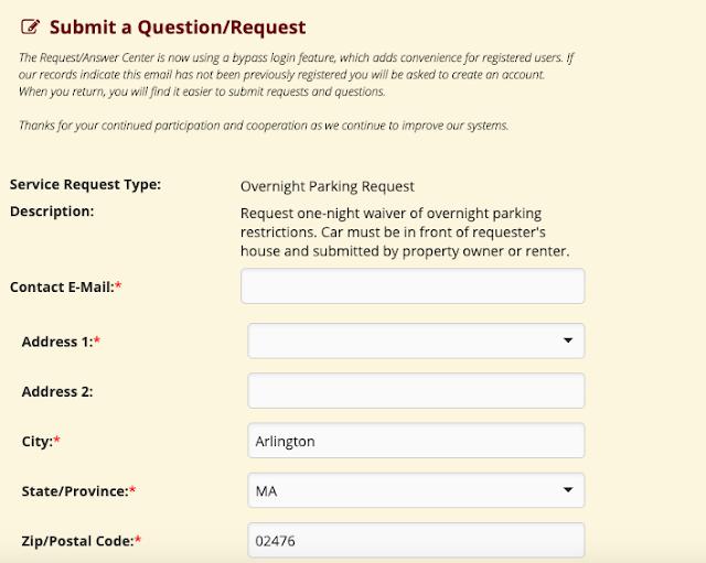 Formulario de la Web del Ayuntamiento de Arlington para Solicitar el Permiso