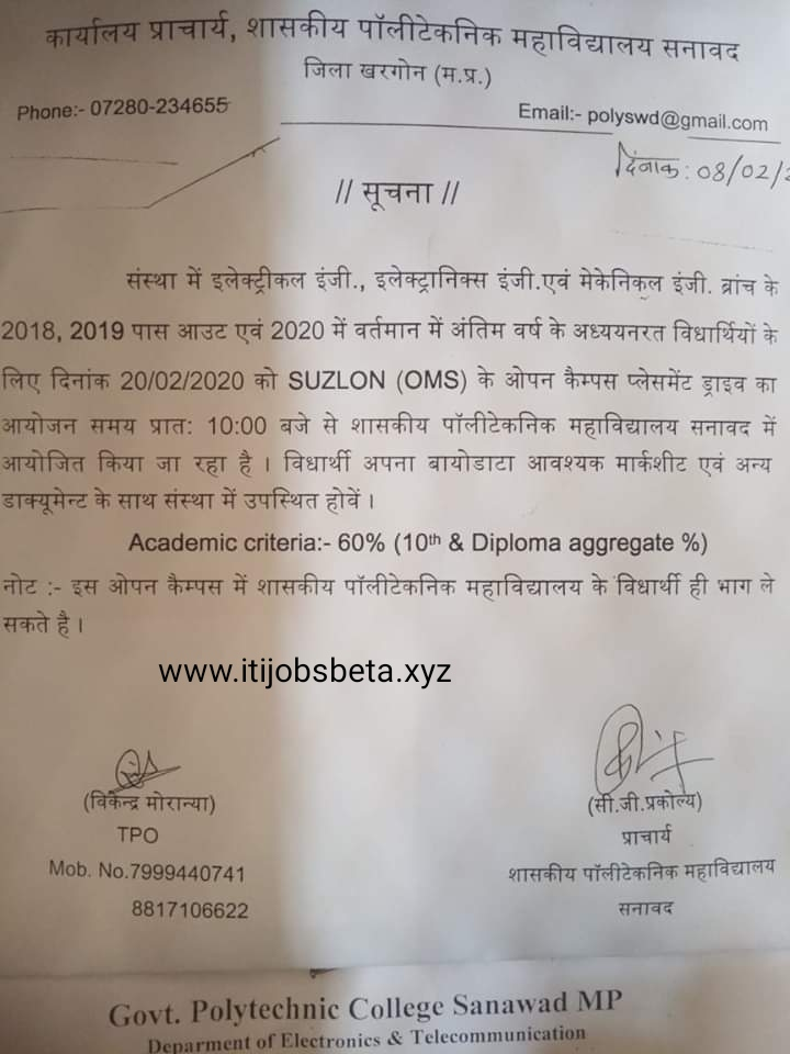 Diploma Campus Placement Govt Polytechnic College Sanawad