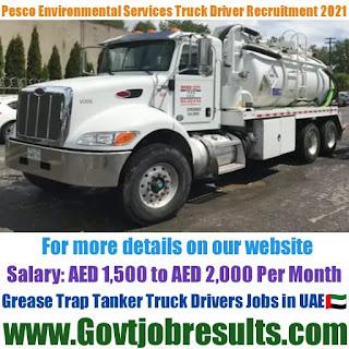 Pesco Environmental Services Grease Trap Tanker Truck Driver Recruitment 2021-22