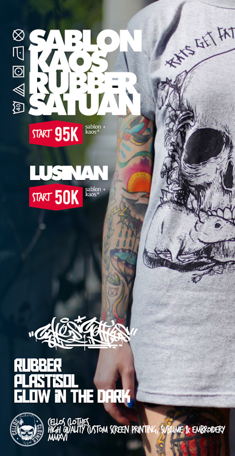 Sablon Kaos Rubber Satuan dan Lusinan | Ready Plastisol & Glow In The Dark