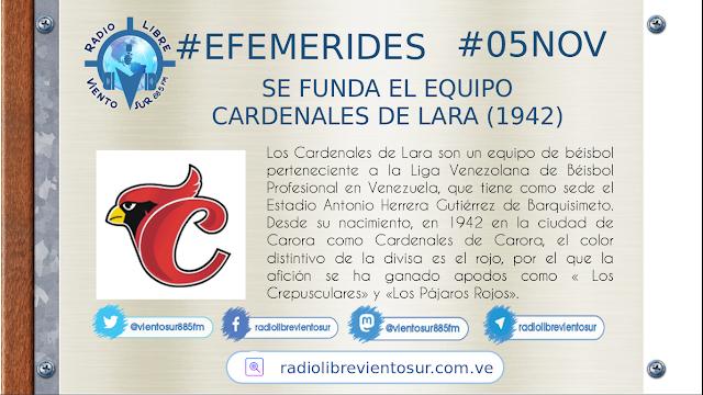 5 DE NOVIEMBRE  SE FUNDA EL EQUIPO CARDENALES DE LARA (1942) EFEMÉRIDES