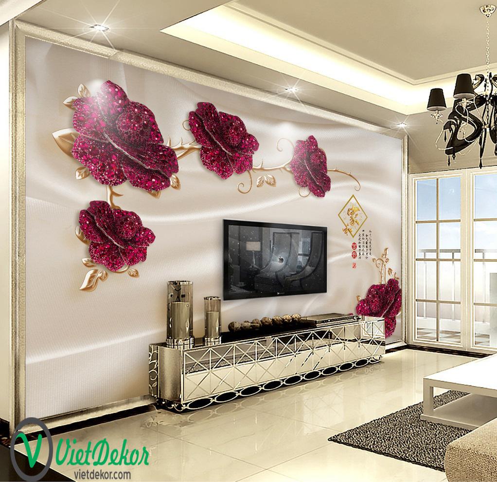 Tranh 3d dán tường hoa hổng đỏ trang trí