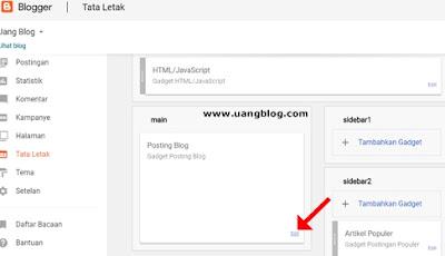 Edit gadget posting blog