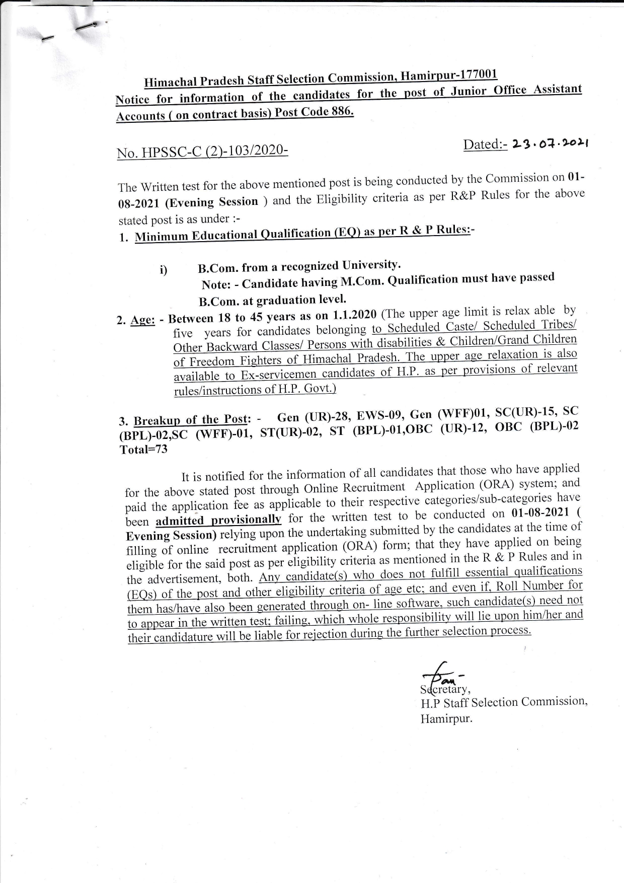 Important Notice For The Post of JOA Accounts Post Code 886-HPSSC Hamirpur
