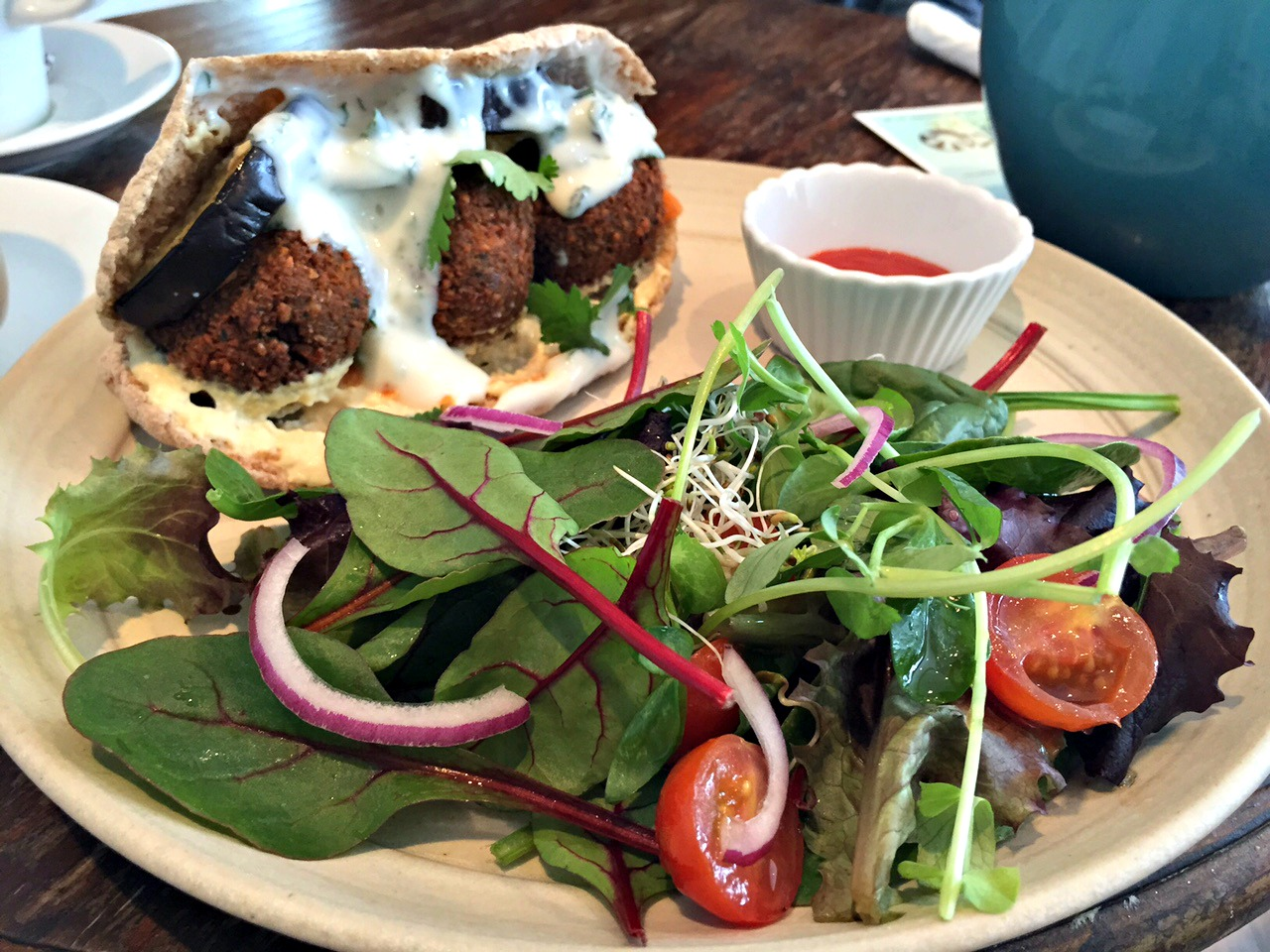 Vegan falafel at Good Apple Cafe in Sunderland