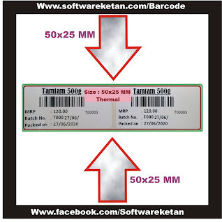 Barcode 50x25 MM Thermal Paper Size crystal Report Design Ready to Download