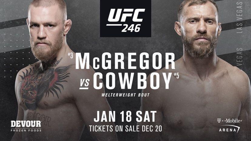"""UFC 246: Бой Конор Макгрегор vs Дональд """"Ковбой"""" Серроне, 18 января 2020, смотреть онлайн, прямая трансляция"""