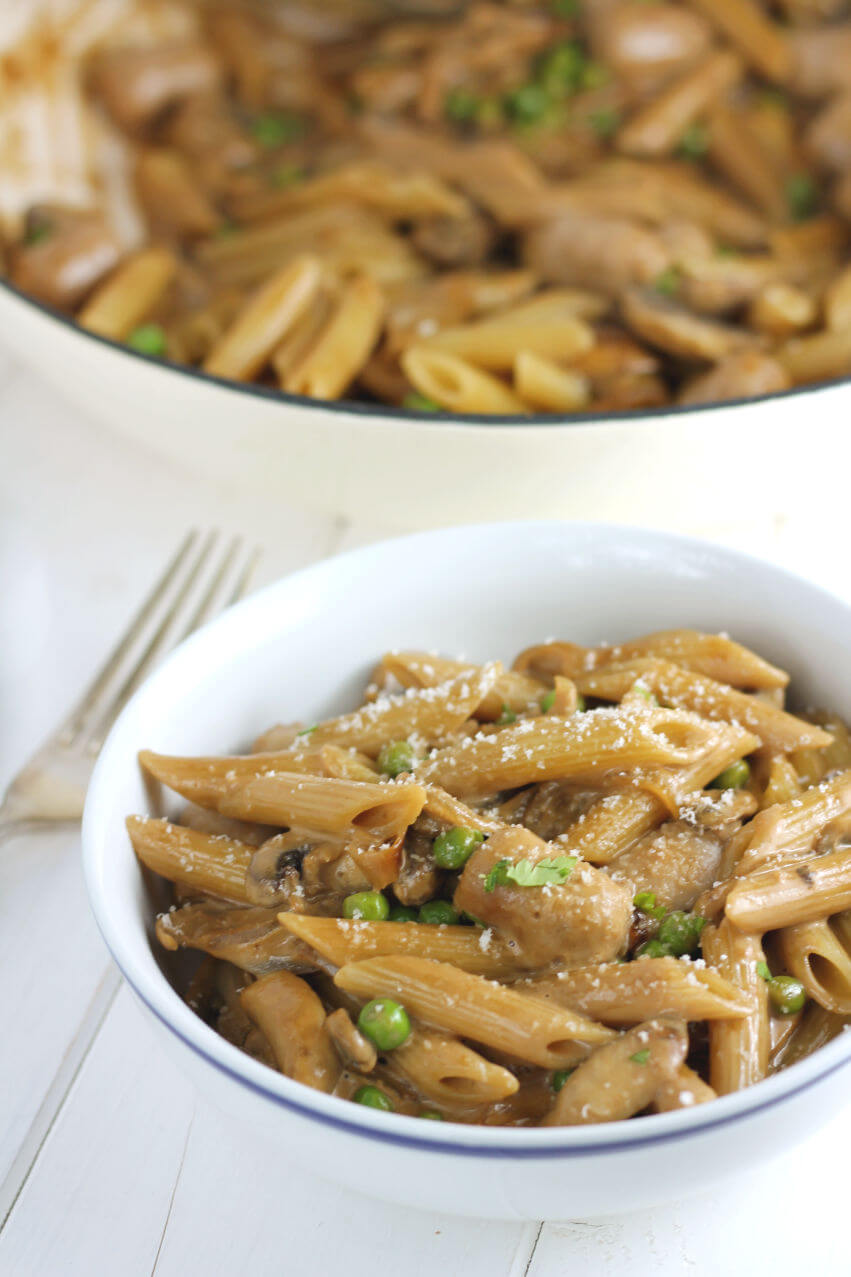 A close up of sausage and mushroom pasta