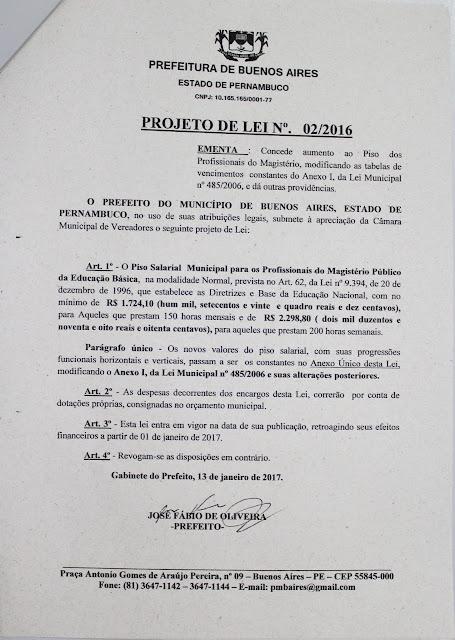 Projeto de lei 02/2017