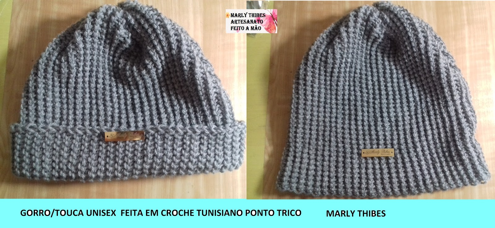 277ba4d07e GORRO/ TOUCA UNISEX EM CROCHE TUNISIANO PONTO TRICO ; TUTORIAL MARLY ...