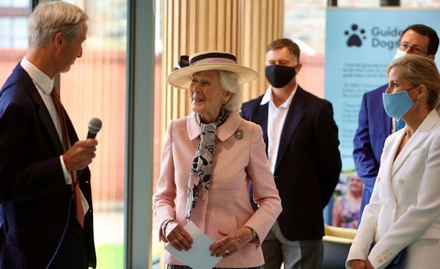 Countess of Wessex wore a vesper floral print crepe midi skirt from Erdem. Princess Alexandra handed over the Patronage of Guide Dogs