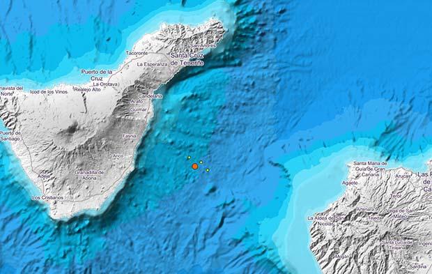 Se registra un terremoto de magnitud 3,2 grados  entre las islas de Tenerife y  Gran Canaria, viernes 18 agosto