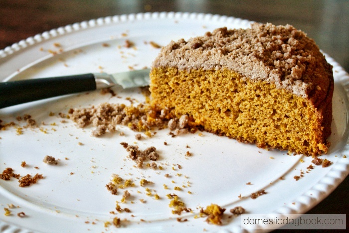 pumpkin coffee cake on plate
