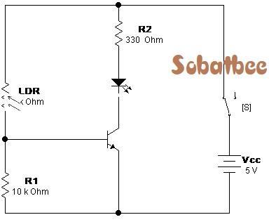 raangkaian sensor cahaya LDR