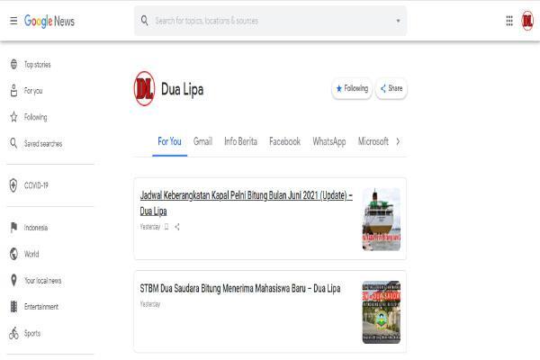Cara Buat Tab Navigasi Label Menu Konten di Google News
