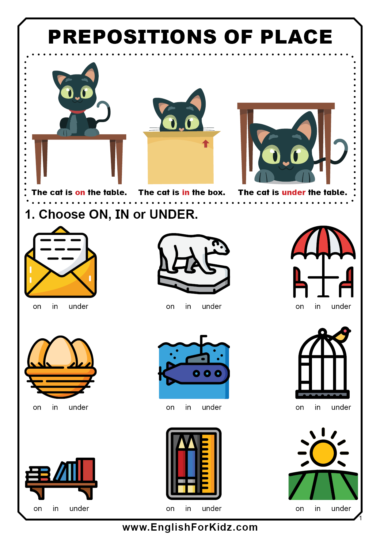 Prepositions Worksheets [ 1754 x 1240 Pixel ]