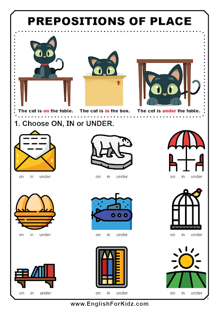 Prepositions worksheet for elementary learners