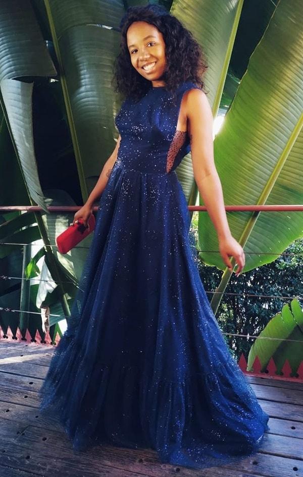 vestido longo azul marinho com brilho glitter para madrinha de casamento