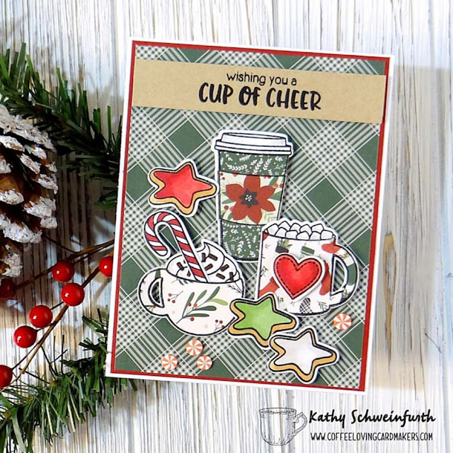 Sunny Studio Stamps: Mug Hugs Customer Christmas Card by Kathy Schweinfurth