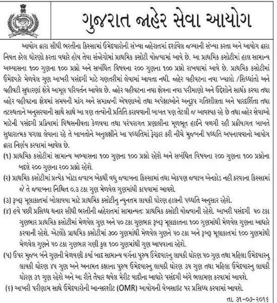 GPSC Exam Pattern Related Important Notification - Dt. 31-07-2016