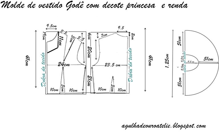 dc81a12b8 Molde gratuito de vestido godê tamanhos ,40,42,44,46,48,50 e 54 com ...