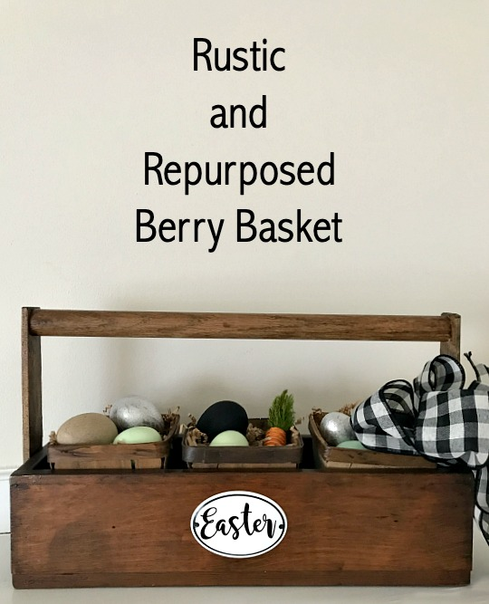 DIY Repurposed Easter tote with berry baskets.