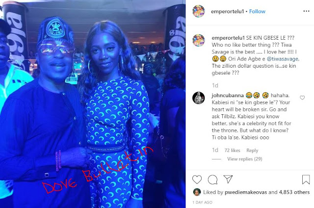 Tiwa Savage is the best, I love her – Oluwo of Iwoland says