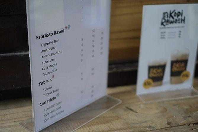 Daftar menu dan harga di Kedai Kopi Rawuh Jogja