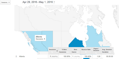 Google Analytics map view Canada Alberta 2016 sessions