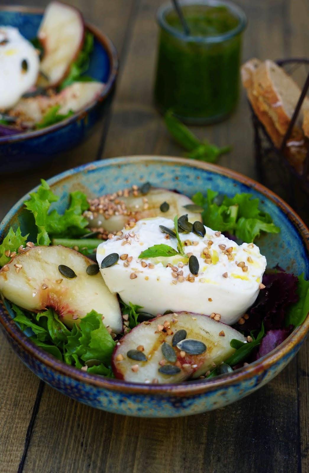 recette facile ,salade estivale , cuisine de vacances , burrata