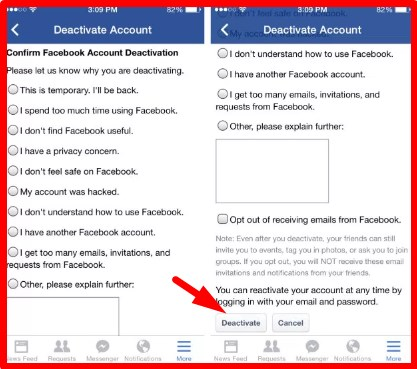 how to deactivate facebook on iphone app