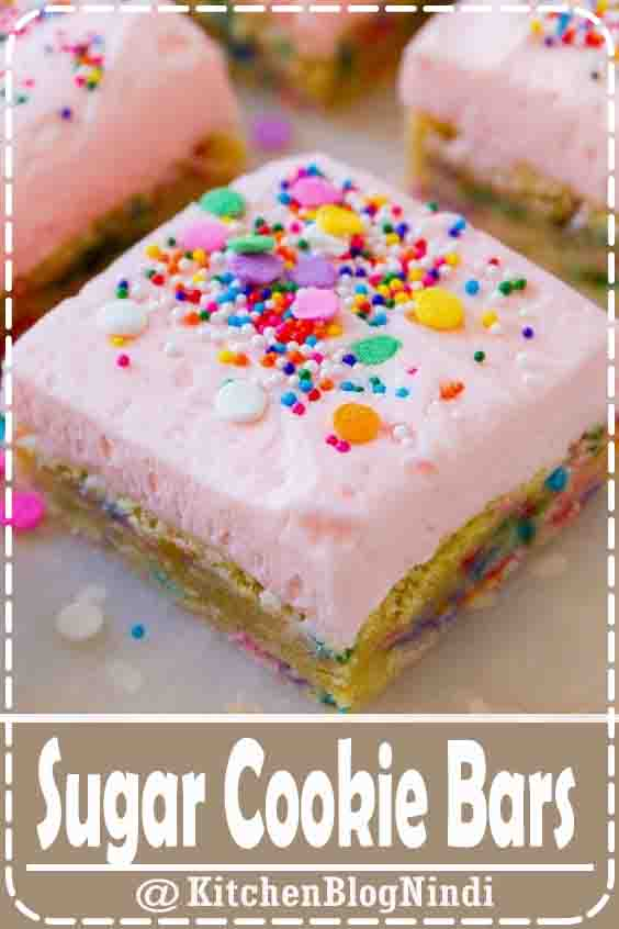4.9★★★★★ | These frosted sugar cookie bars are soft, chewy, and topped with creamy vanilla buttercream. And sprinkles… of course! #Sugar #CookieBars