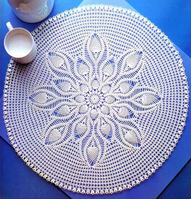 Crochet Doily Tablecloth Pattern - Pineapple Doily, round, white, crochet lace