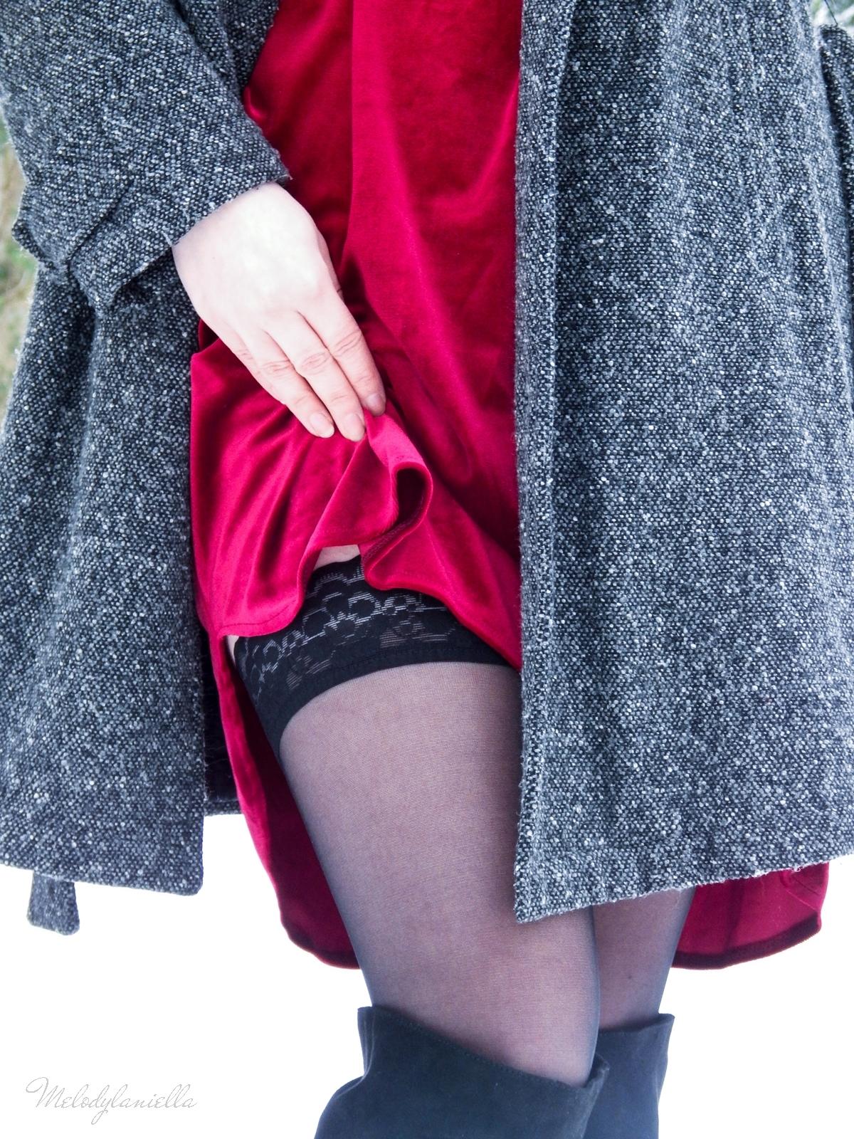 015 torebka manzana czarna czerwona aksamitna  sukienka zaful choker sammydress girl fashion zimowy lookbook stylizacja melodylaniella rajstopy veera pończochy fashion moda szary płaszcz muszkieterki deichmann
