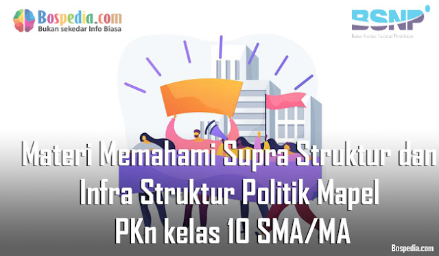 Materi Memahami Supra Struktur dan Infra Struktur Politik Mapel PKn kelas 10 SMA/MA