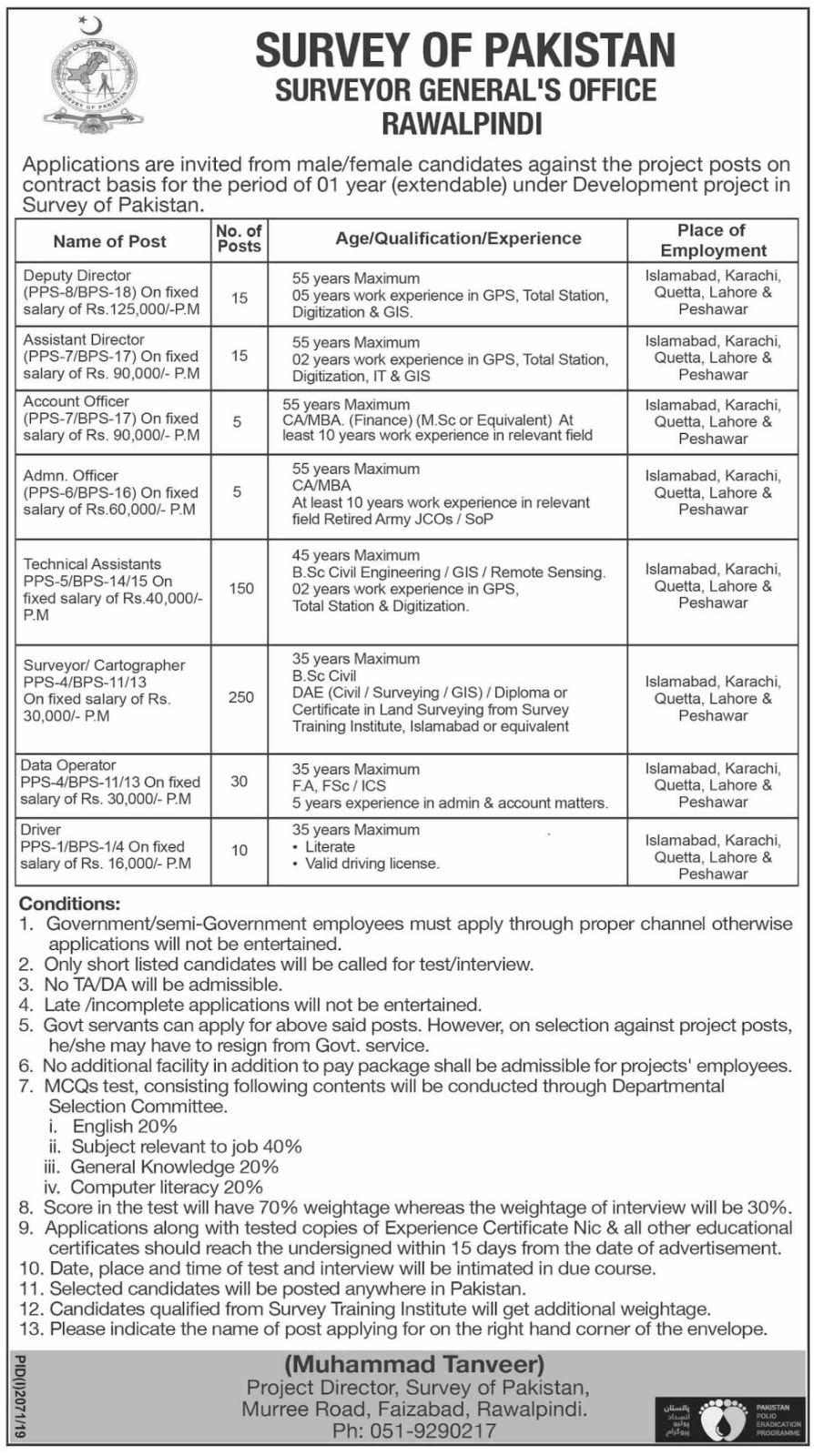 Government of Pakistan Survey of Pakistan Jobs 2019